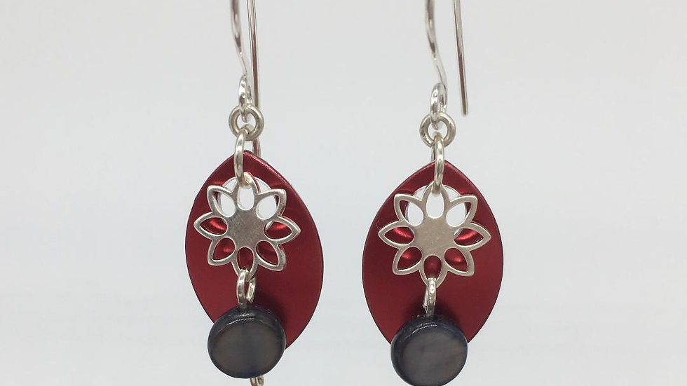 Red Shield Earrings with Flower and Shell