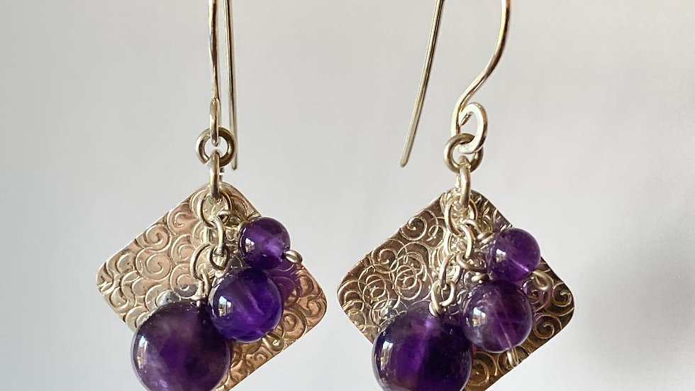 Square and Amethyst Bead Earrings