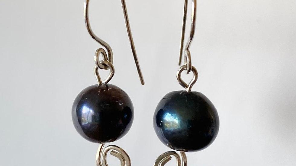 Sterling Silver Swirl Dark Pearl Earrings