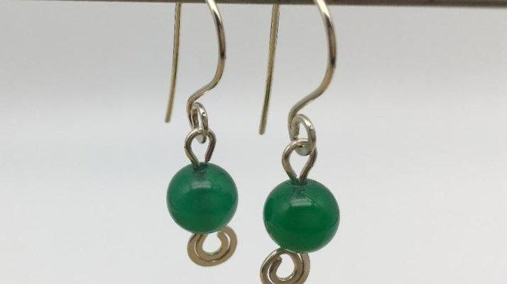 Sterling Silver Swirl Green Agate Earrings