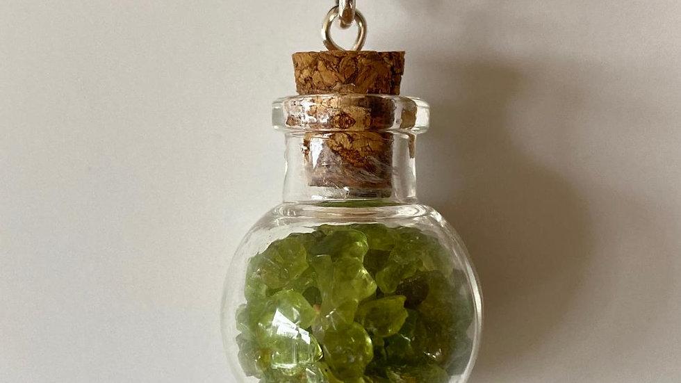 Little Bottle Full of Peridot Pendant