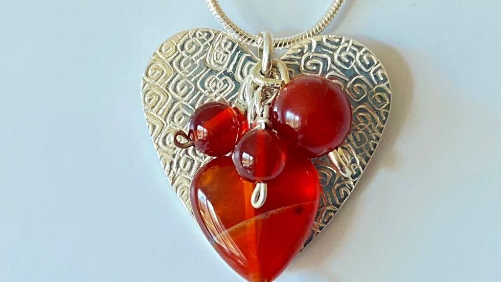 Silver and Carnelian Hearts Necklace