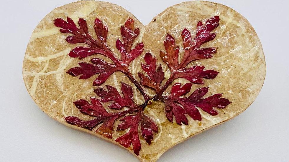 Leaf Wooden Heart Brooch