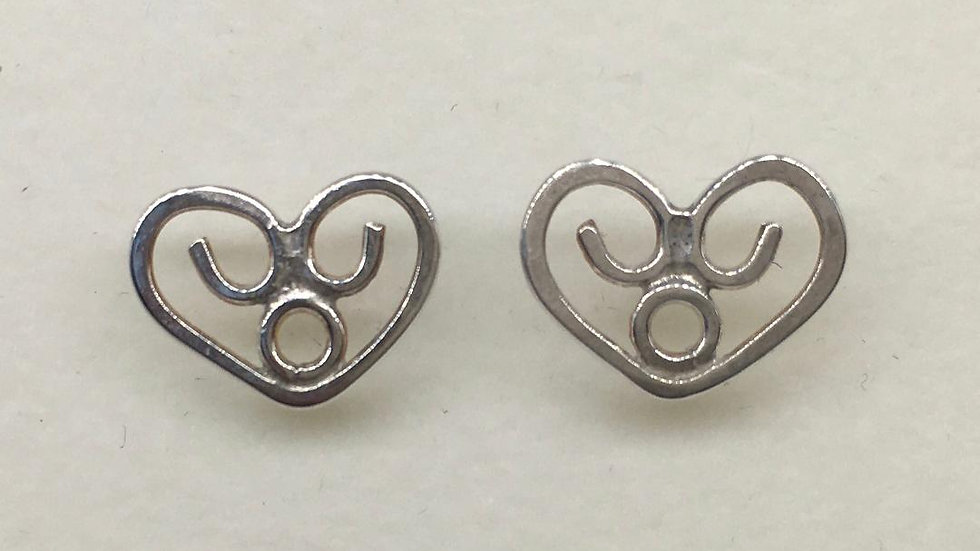 Celtic Silver Heart Studs