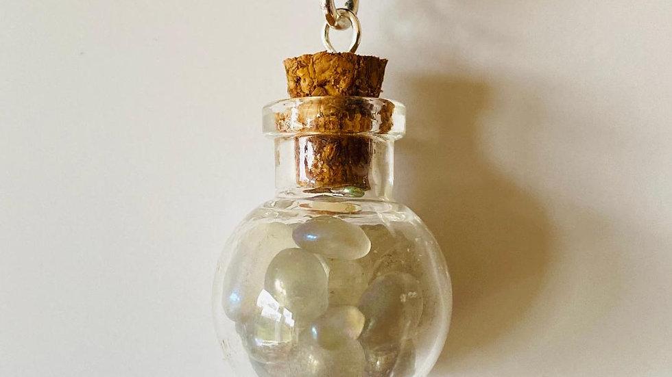 Little Bottle Full of Aura Moonstone Pendant