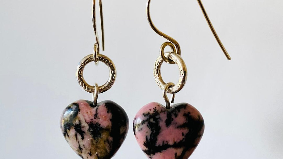 Rhodonite Heart and Silver Circle Earrings