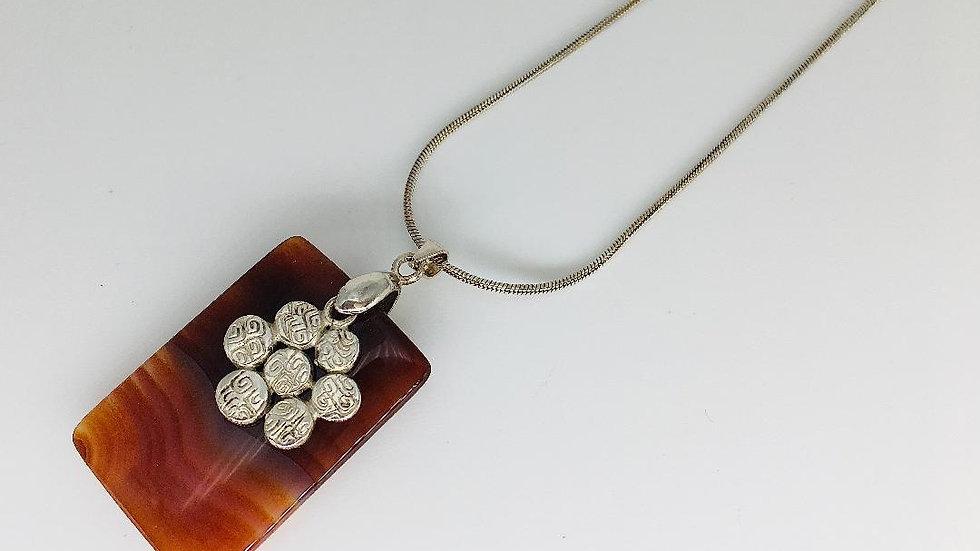 Carnelian Pendant with Silver Flower