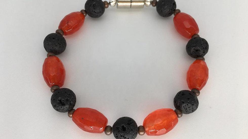Lava and Orange Quartz Bracelet