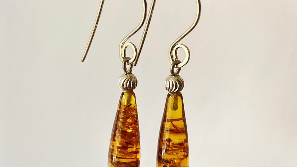 Drop Amber and Silver Earrings