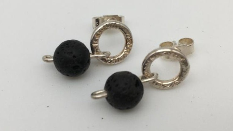 Diffuser Lava Bead Silver Textured Ring Studs