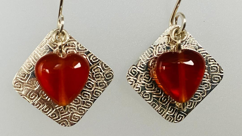 Squares and Hearts Silver and Carnelian Earrings