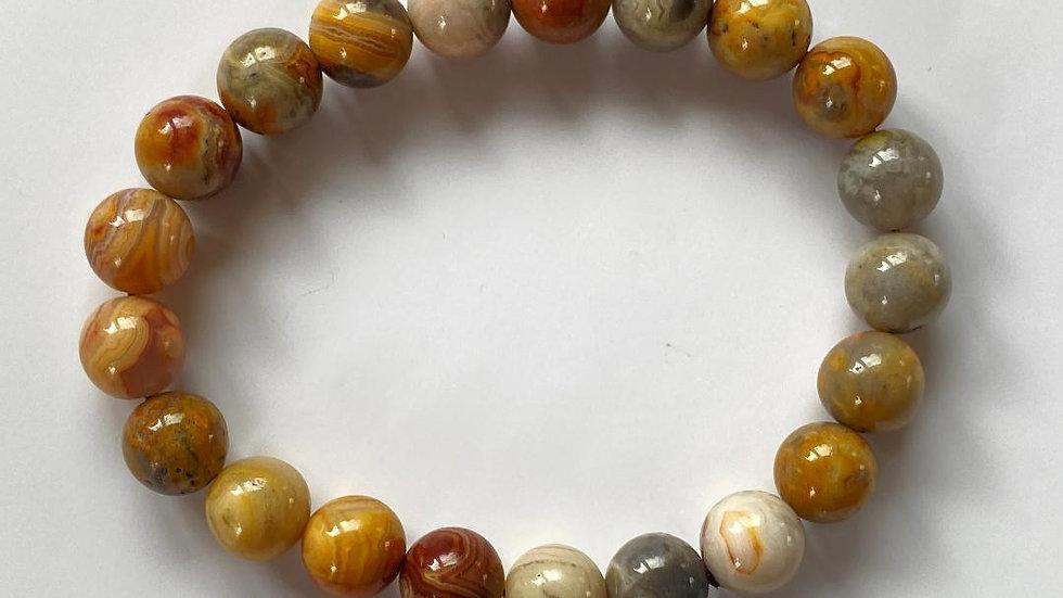 Crazy Lace Agate Bead Bracelet