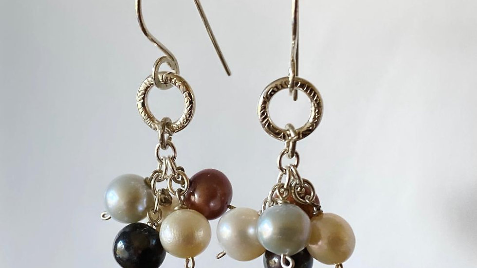 Bunch of Pearls with Silver Circle Earrings