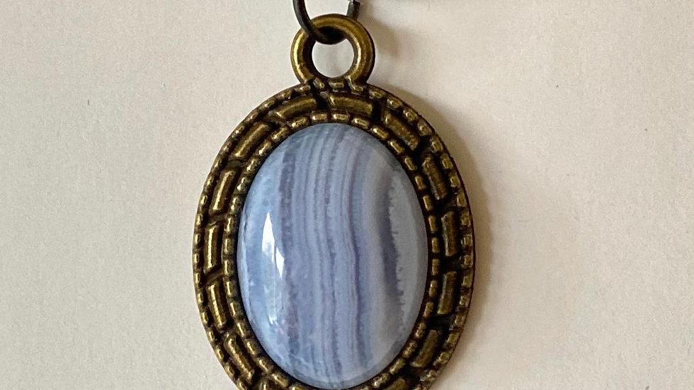 Blue Lace Agate Oval Cabochon Pendant