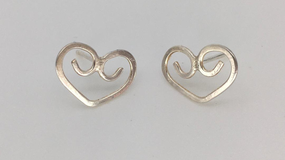 Celtic Silver Heart Studs