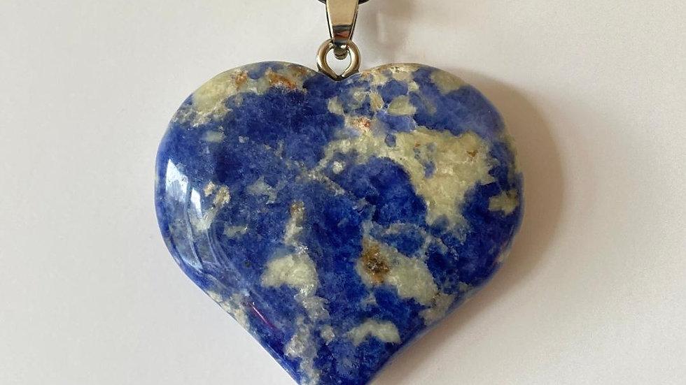 Large Blue Spot Jasper Heart Pendant