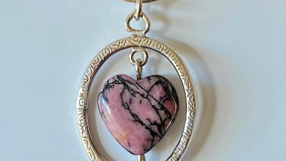 Rhodonite Heart in a Oval Silver Frame