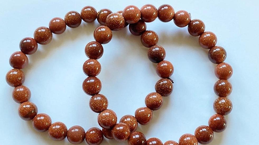 Golden Sandstone Bead Bracelet