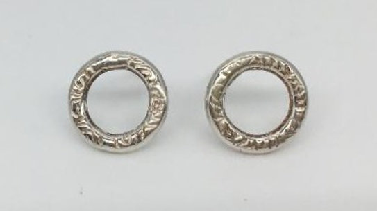 Textured Silver Ring Studs