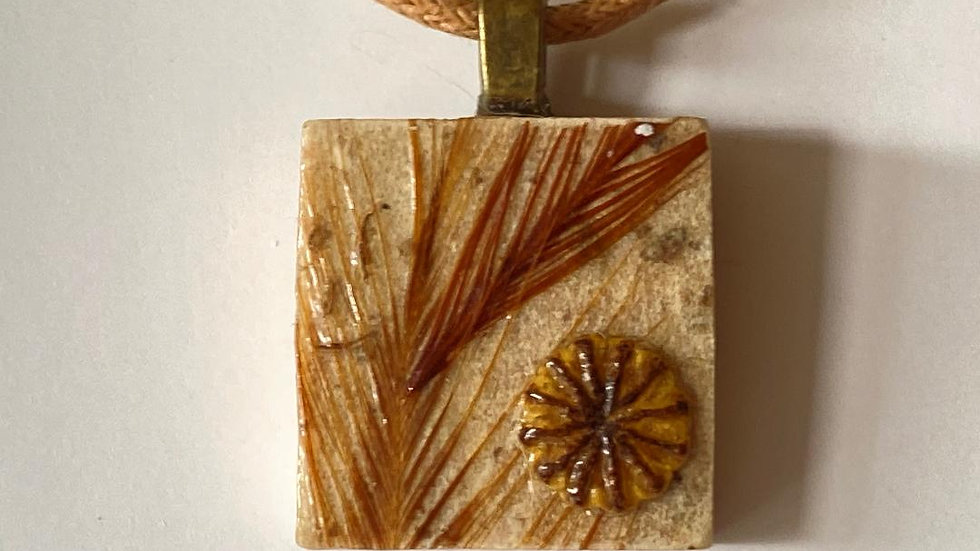 Feather and Poppy Head Scrabble Tile Pendant