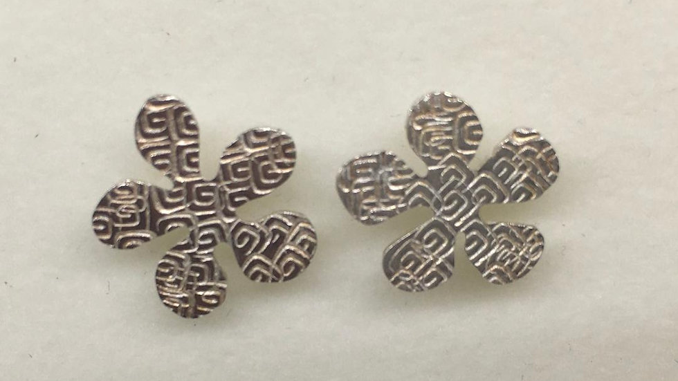 Sterling Silver Textured Flower Studs