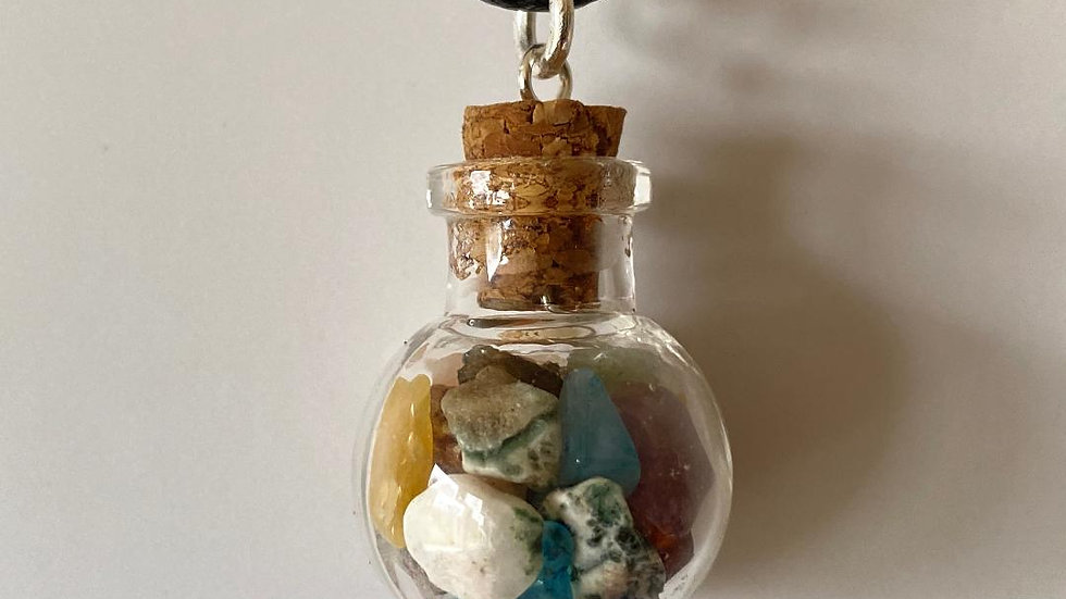 Little Bottle Full of Mixed Crystals Pendant