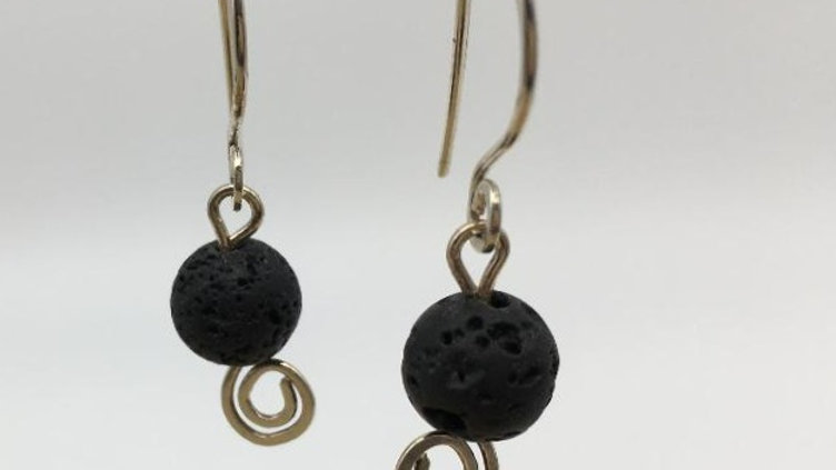 Diffuser Lava Bead Swirl Silver Earrings