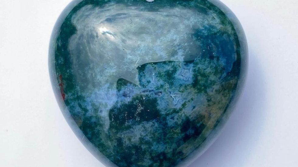 Moss Agate Pocket Heart