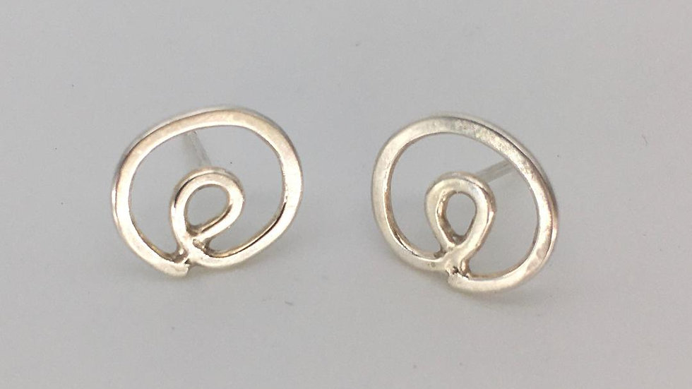 Handmade Silver Connected Spiral Studs