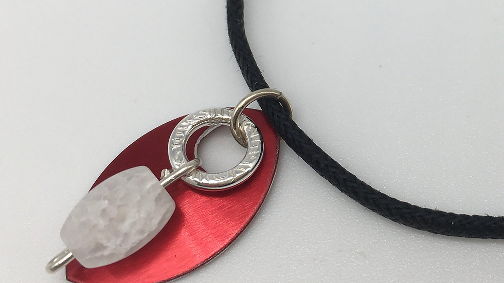 Red Shield with Silver Textured Ring with Frosted Quartz Necklace