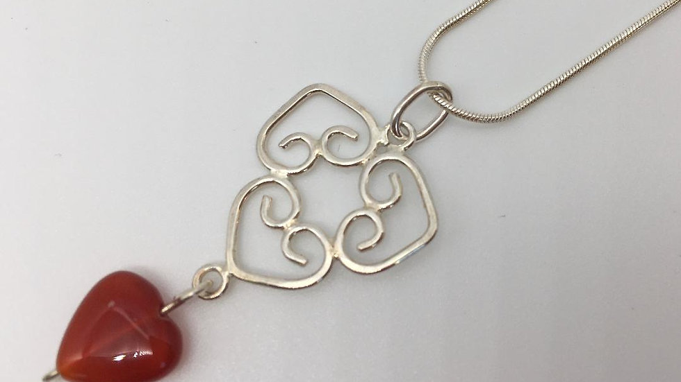Three Heart Sterling Silver Pendant with Carnelian