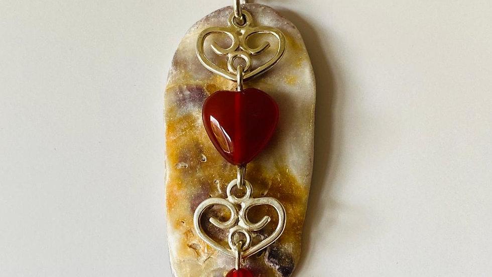 Hearts Carnelian and Shell Pendant