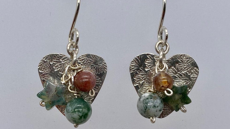 Stars and Hearts Earrings with Agate