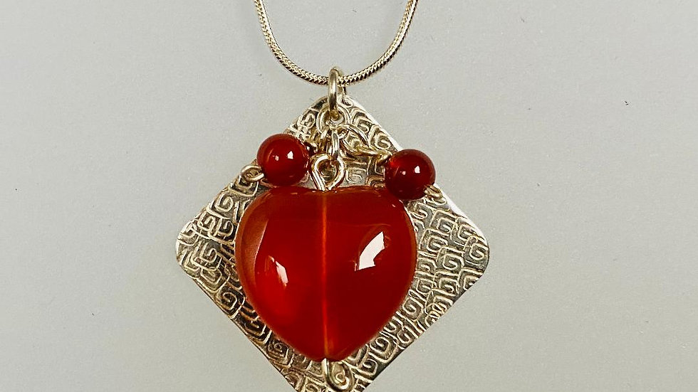 Squares and Hearts Silver and Carnelian Necklace