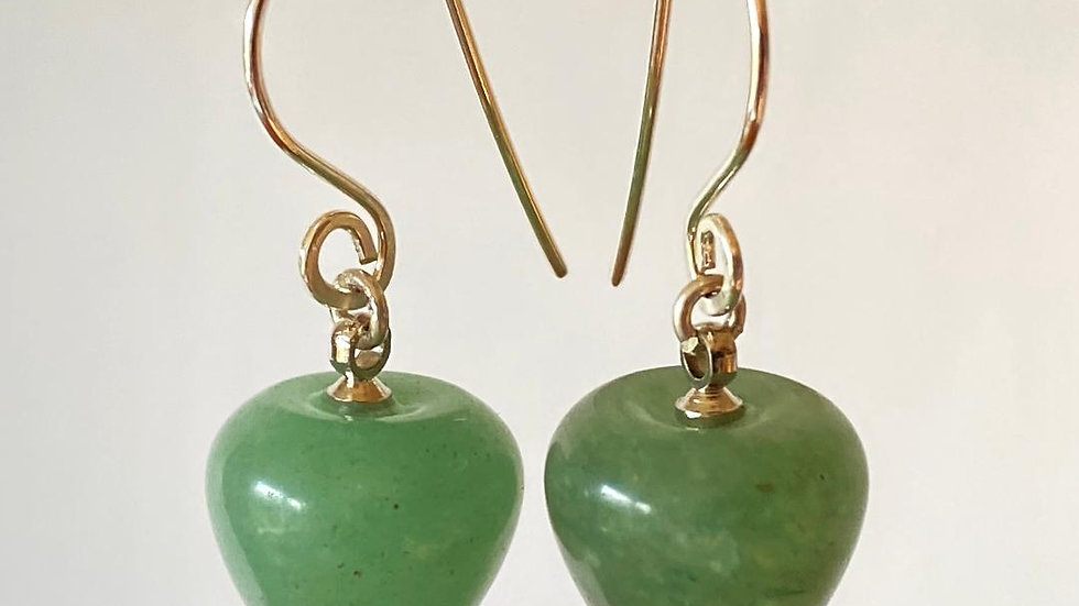 Green Adventurine Apple Earrings