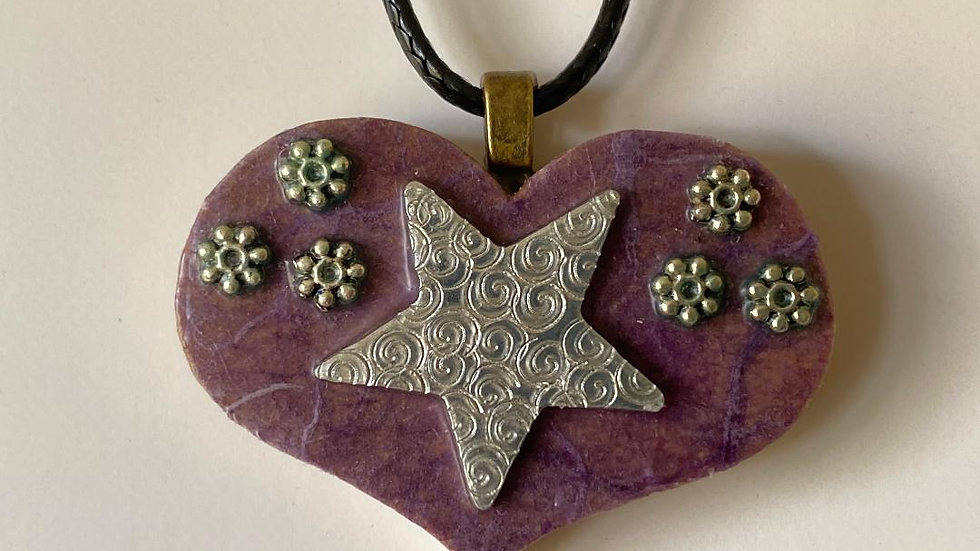 Wooden Tile Heart and Star Pendant