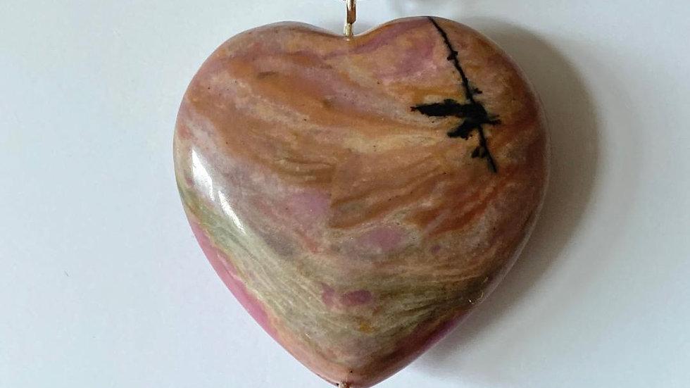 Large Rhodonite Heart Pendant