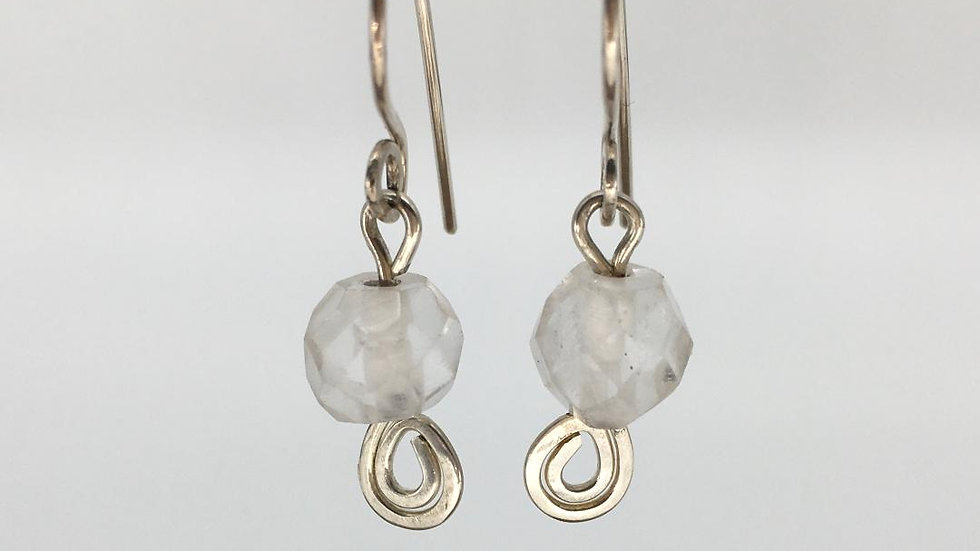 Sterling Silver Swirl Faceted Clear Quartz Earrings
