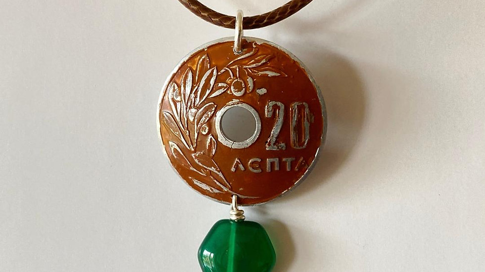 Coin with Green Agate Pendant