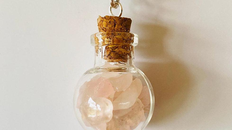 Little Bottle Full of Rose Quartz Pendant
