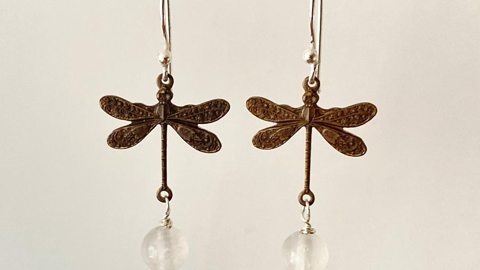 Dragonfly Earrings with Quartz