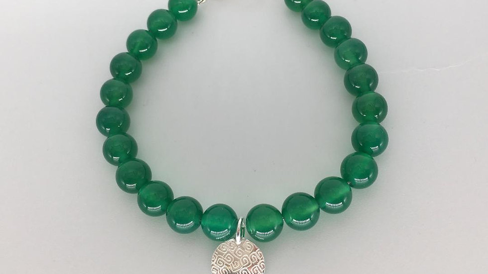 Bracelet with 8 mm Green Agate Beads with Silver charm and catch