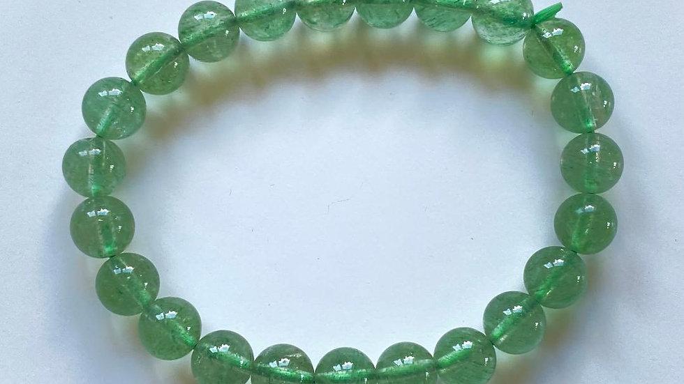 Green Strawberry Quartz Bead Bracelet