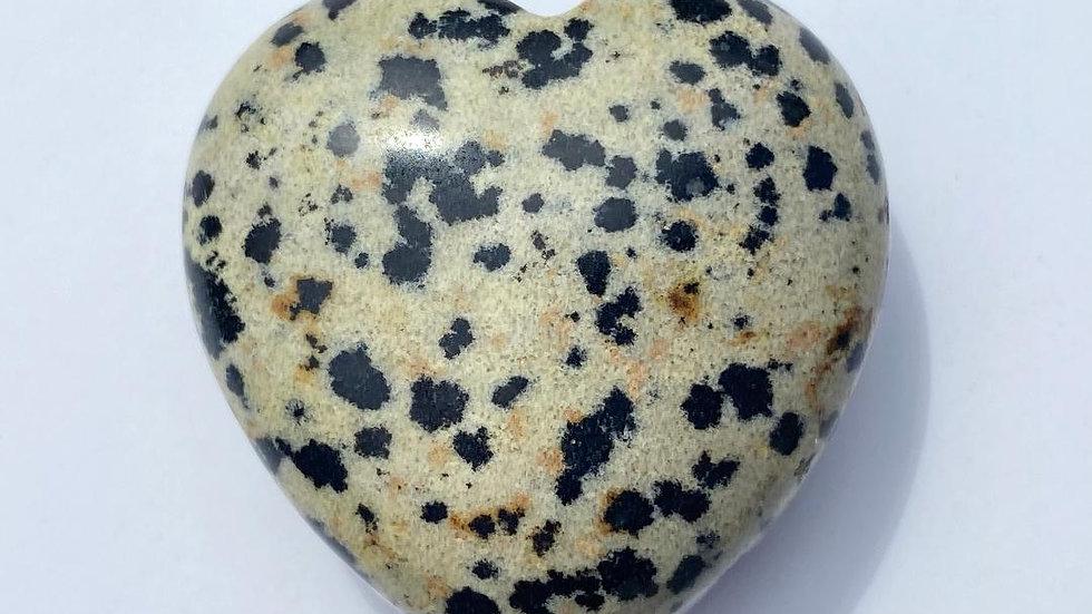 Dalmatian Jasper Pocket Heart