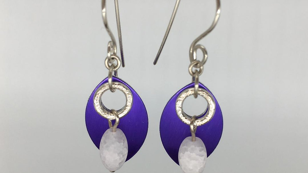 Purple Shield with Silver Textured Ring with Frosted Quartz Earrings