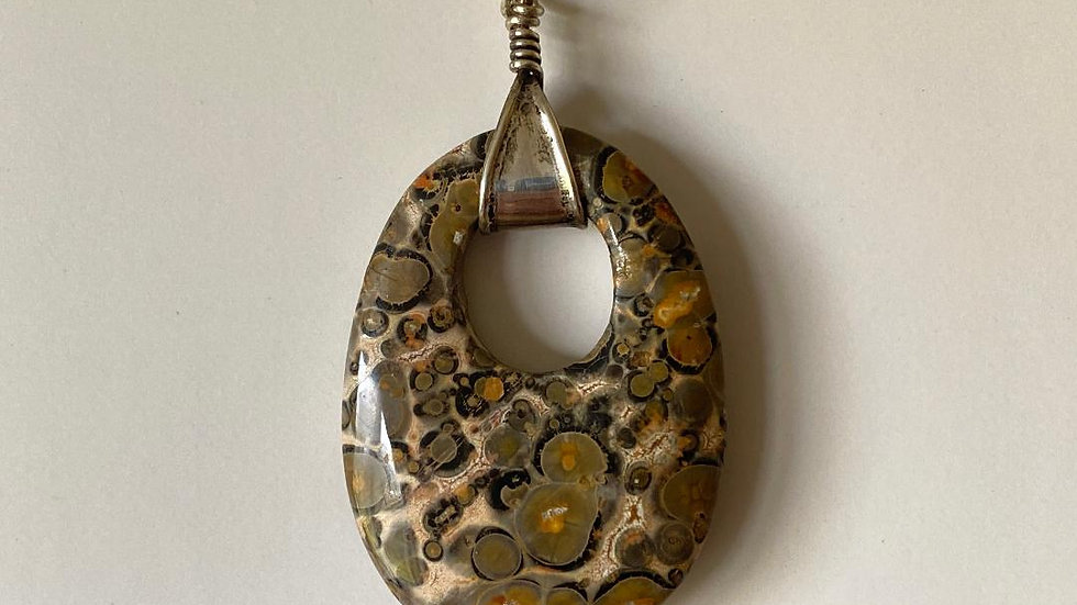 Leopardskin Jasper pendant  with Silver Cuff