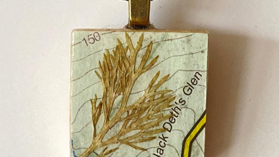 OS Map and Grass Pendant on a Scrabble Tile