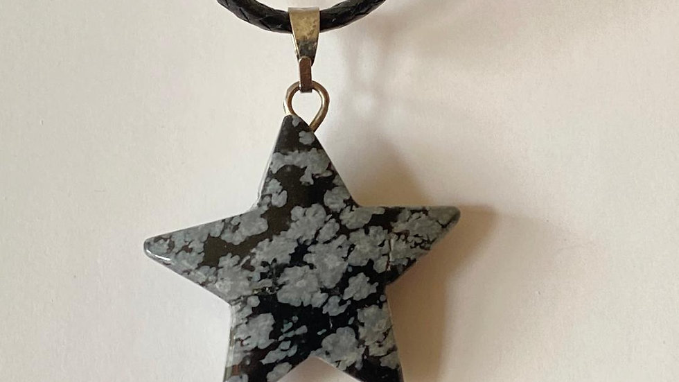 Snowflake Obsidian Star Pendant