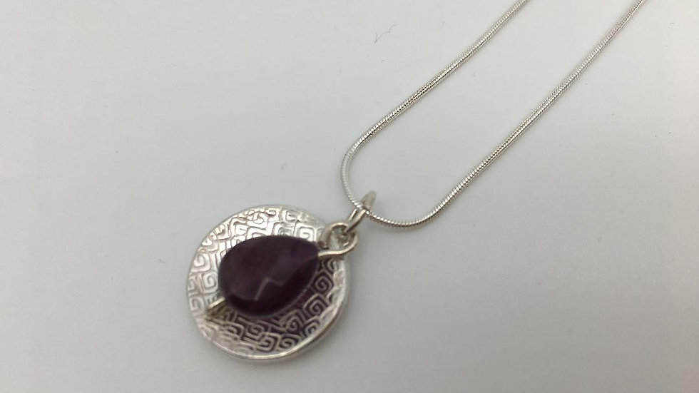 Sterling Silver with Amethyst Faceted Teardrop Pendant