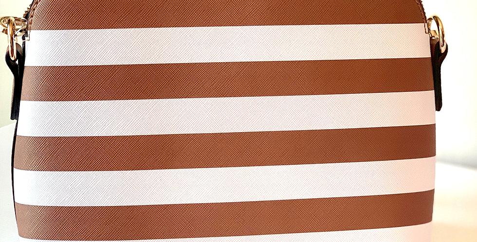 Stripe Crossbody Purse (Camel)
